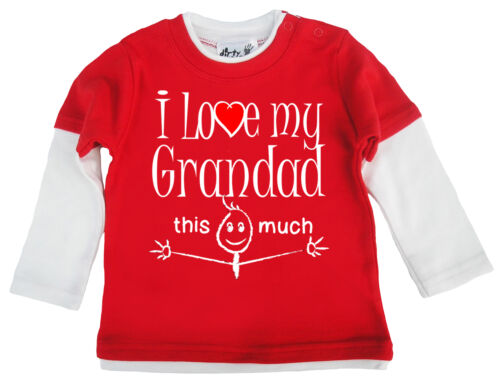 """Baby Skater Top /""""I Love My Grandad this Much/"""" Boy Girl Long Sleeved Gramps"""