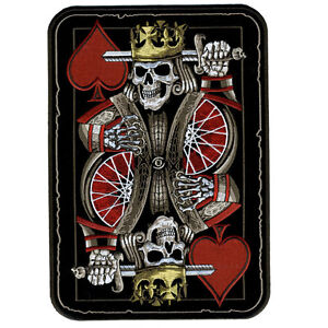 Biker Vest Patches >> SUICIDE KING DEATH SKULL PLAYING CARD 4 INCH MC BIKER ...