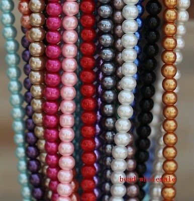 20/30/50/100 Pcs Top Quality Czech Glass Pearl Round Beads 4mm 6mm 8mm 10mm