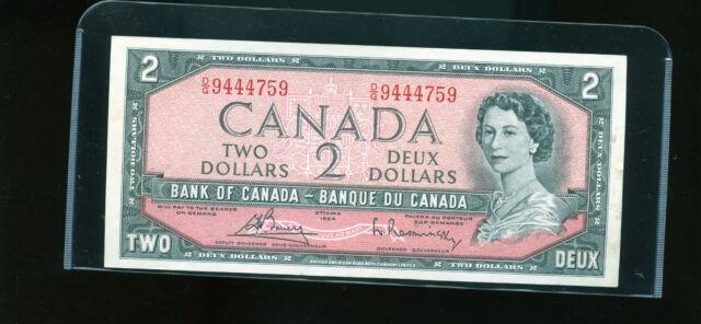 1954 Bank of Canada $2 Bouey Rasminsky AU Wl21
