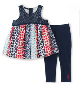 Tommy Hilfiger Baby Girl Outfit Sleeveless Top Legging Set Red