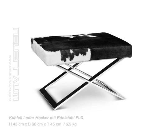 Chic Bauhaus Cowskin Stool Seat Stool. Abb. Real Cowhide Black-White 4260418995510