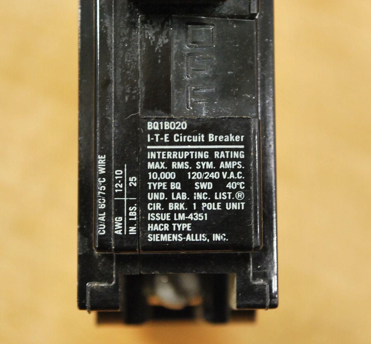 BQ1B020 Siemens Type BQ 1 Pole 20A 120VAC Circuit Breaker {Lot of 10} 2 YEAR WA
