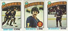 11 1976-77 TOPPS HOCKEY BUFFALO SABRES CARDS (GARE/MARTIN/SCHOENFELD+++)