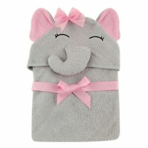 Hudson Baby Animal Face Hooded Towel, Pretty Elephant