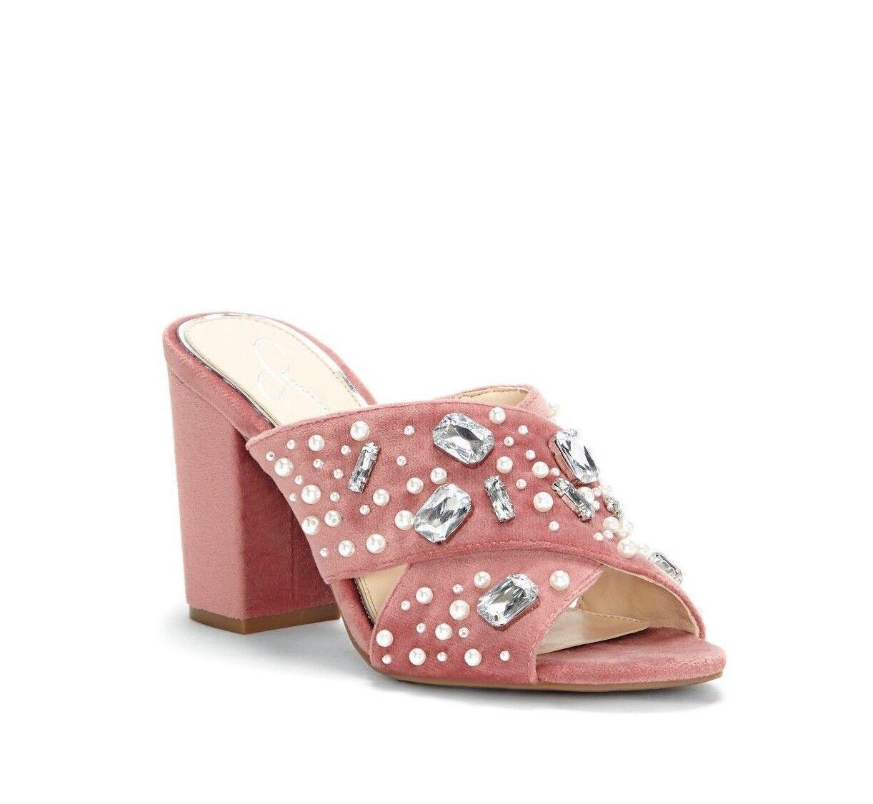 Jessica Simpson Simpson Simpson rizell para mujer Talla 6.5M Terciopelo Diapositivas de Diamantes de Imitación Perla rosado  muy popular