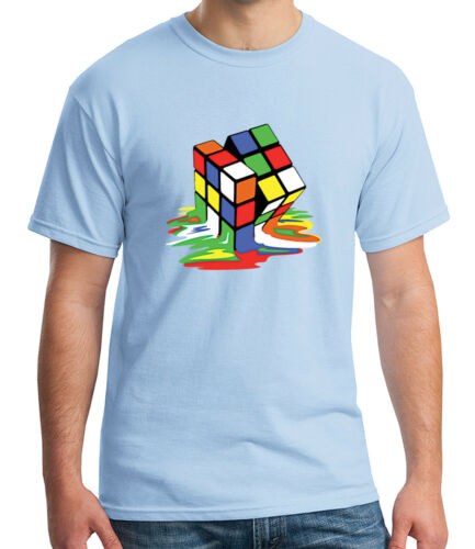 Melting Cube Cubic Adult/'s T-shirt Cubics Nerdy Cubik Toy Tee for Men 1034C