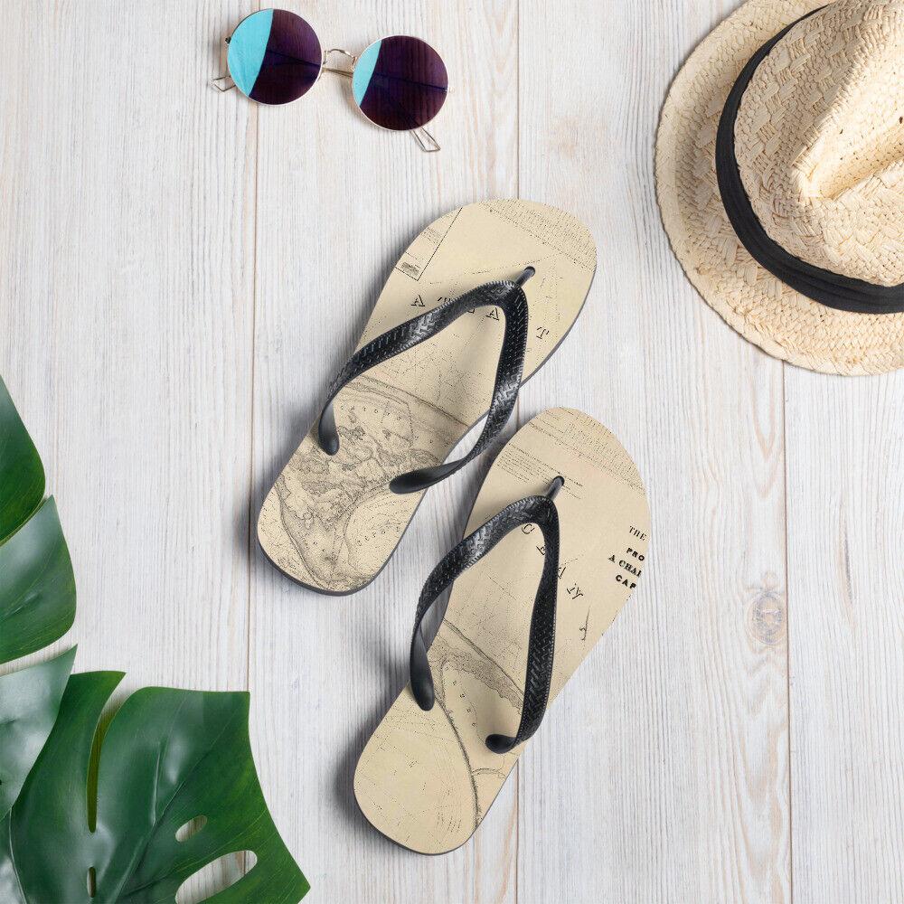 Cape Cod Provincetown P-Town Nautical Vintage Chart Map Flip-Flop Sandals Gift