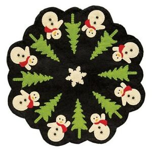 SNOWMAN-CHRISTMAS-TREE-CANDLE-MAT-Doily-Primitive-Folk-Art-Felt-12-034-Dia-Holiday