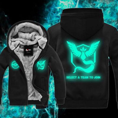 Pokemon Go Team Mystic Jacket Winter Fleece Hoodie Coat Thick Zipper Sweatshirts