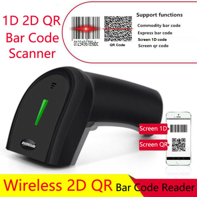 Symcode Handheld 2 4Ghz Wireless Barcode Scanner 1D 2D QR Laser Bar Code  Reader