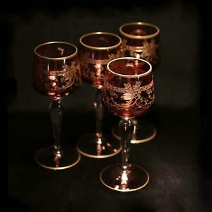Antique-set-of-4-MOSER-cranberry-ruby-wine-glasses-needle-etched-gold-gilded