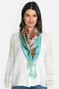 Johnny-Was-Butterflies-Blue-Scarf-Flower-Silk-Pink-Birds-Hobo-Floral-Tassle-New