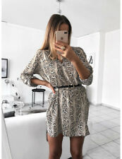 Ladies Women Leopard Snake Print Long Sleeve V-neck Casual Mini Shirt Dress 8-18