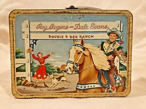 ROY ROGERS & DALE EVANS 1954 Double R Bar Ranch Metal Lunch Box NO Thermos