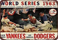 "1963 World Series Baseball Dodgers Yankees Vintage Rustic Metal Sign 8"" x 12"""
