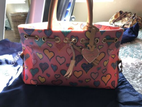 DOONEY & BOURKE Tiny TASSEL TOTE PINK HEARTS PURSE