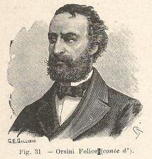 B1003 Orso Teobaldo Felice Orsini - Stampa Antica 1929 - Xilografia - Engraving