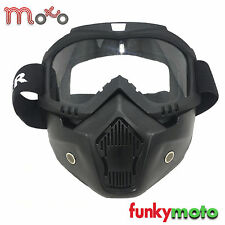MOTOCROSS X4 MATT BLACK MOTORCYCLE GOGGLE AND WINTER HEADWEAR FACE MASK COVER