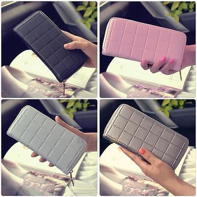 Ladies Women Leather Clutch Wallet Long Card Holder Case Purse Handbag Plaid Bag