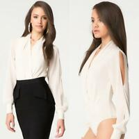 Bebe Ivory Silk Wrap Long Sleeve Bodysuit Top $89 Large L