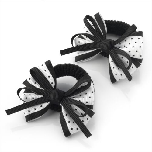 Gorgeous Pair of Black Spotty Bow Hairbands RRP £2.50 Brand New With Tags