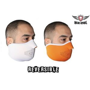 Winter Riding Reversible White and Orange Face Mask - free shipping