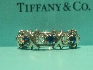 2067d8ed1 TIFFANY & CO. JEAN SCHLUMBERGER 16 STONE DIAMOND BLUE SAPPHIRE RING ...