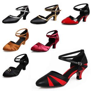 Closed-Toe-Ladies-Women-039-s-Latin-Ballroom-Party-Tango-Salsa-Dance-Shoes-Heeled