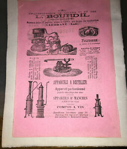 DEUX PUBLICITÉS POUR NARBONNE (AUDE) (APPAREILS À DISTILLER, DÉCOR.).VERS 1900.