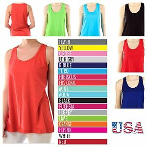 Women-039-s-Loose-Fit-Tank-Top-Relaxed-Sleeveless-100-Cotton-Basic-Plain-Tee-S-M-L