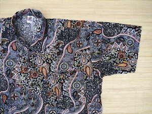 Hawaiihemd-Hawaii-Hawai-Hemd-schwarz-Blumen-Paisley-bunt