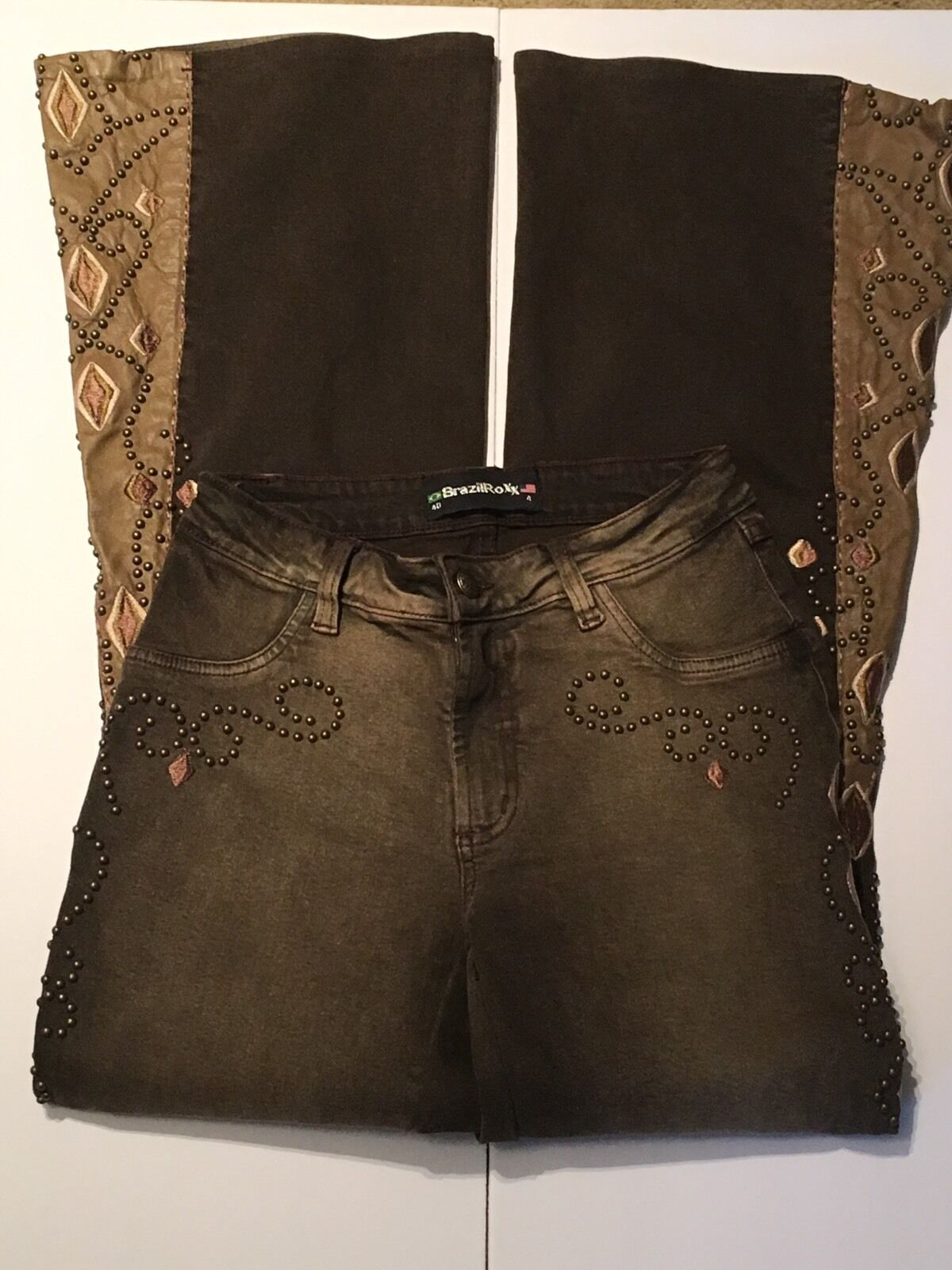 BrazilRoxx Brown Denims With Leather And Extensive Embroidery, Studs,Sz 40 MINT
