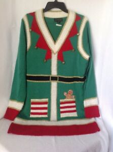 ec499cfd96 Blizzard Bay Elf Women s Christmas Holiday Sweater with Bells - Size ...
