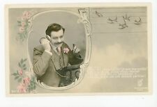 """""""Oui, J'Ecoute!"""" Early Telephone RPPC Antique French CPA Photo 1908"""