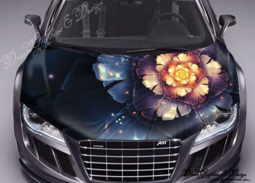 Abstract Flower Hood Full Color Graphic Wrap Decal Vinyl Sticker Fit any Car 106