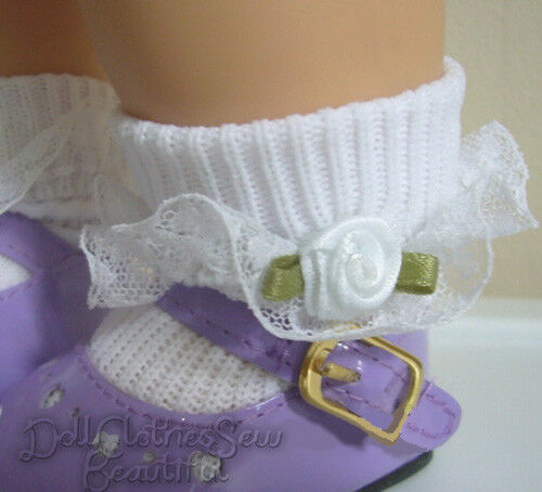 Lace Trim Socks w// White Rosebuds for Bitty Baby Twins Doll Clothes