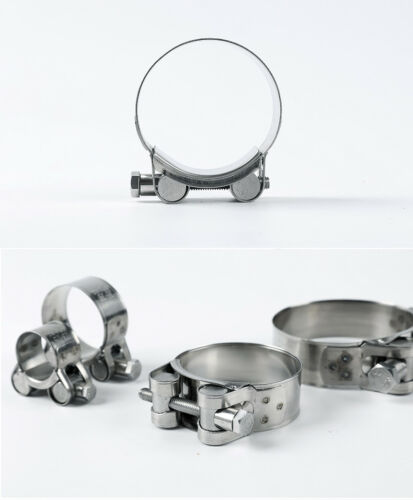 2Pcs 304 Stainless Steel T Bolt Hose Pipe Clip Clamp 17-19//64-67//122-130mm