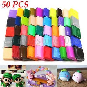 50Pcs DIY Craft Malleable Fimo Polymer Modelling Soft Clay Block Plasticine