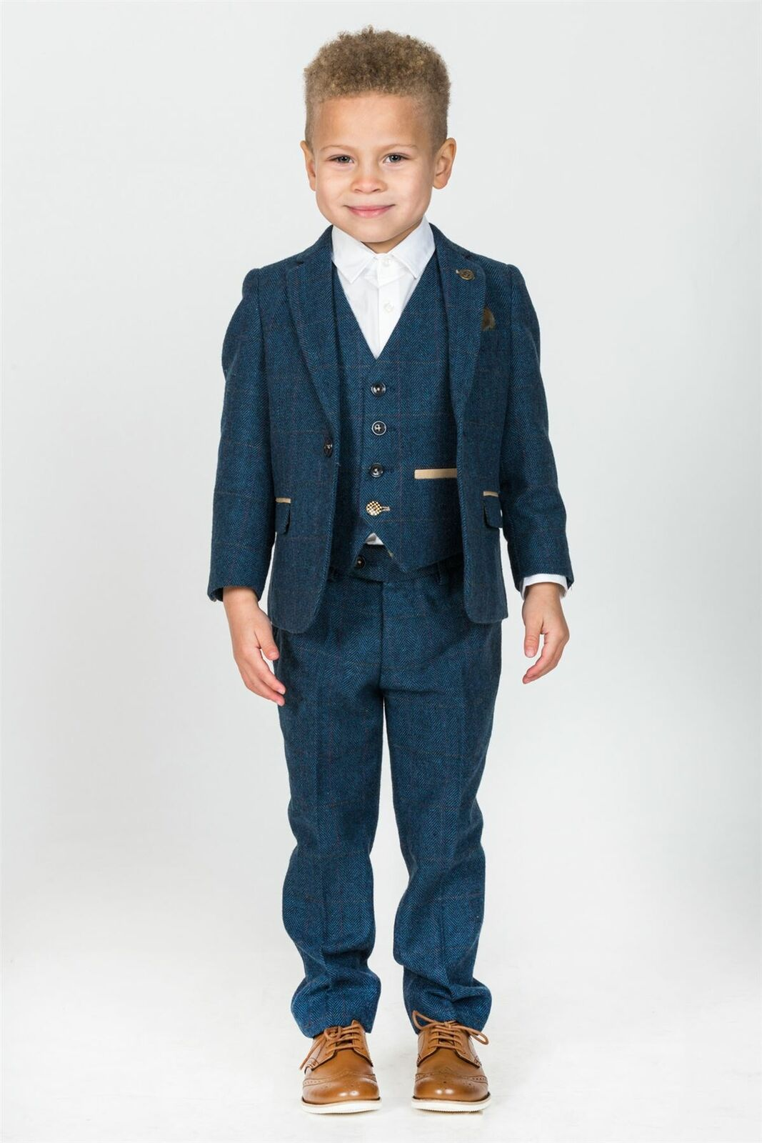 Boys Blue Tweed Wedding Suit with Waistcoat Trousers for Prom Party 1-14 Years