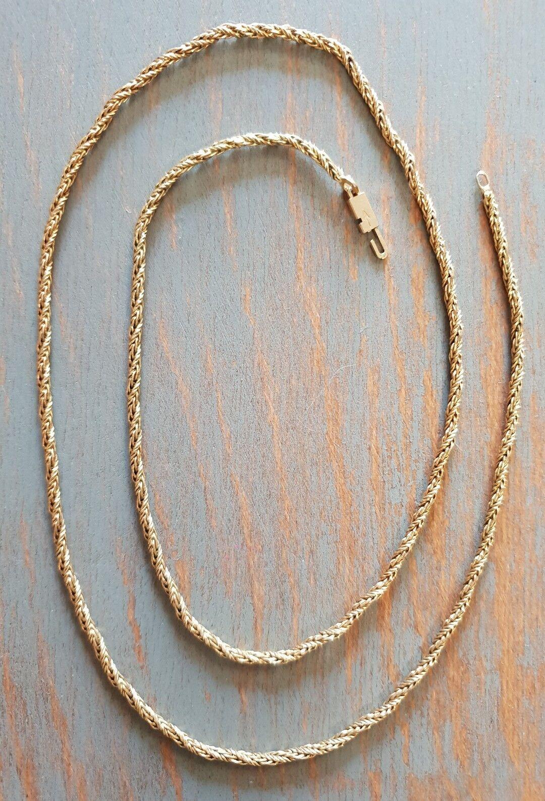 Chaine Sautoir Maille Corde Torsadée En Plaqué Or Vintage 60 cm RefV857