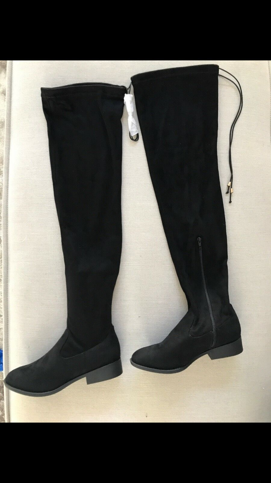 New thigh high black suede boots