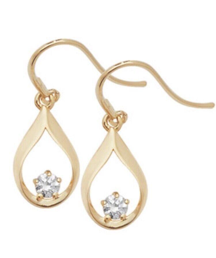 9 Carat Yellow gold Ladies Girls CZ Drop Style Stud Earrings FREE UK SHIPPING