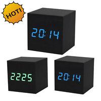 Digital Led Black Wooden Wood Desk Alarm Brown Clock Watch Voice Control Us