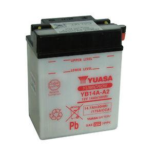 Batterie Moto Yuasa YB14A-A2 12V 14.7AH 175A 134X89X176mm ACIDE OFFERT