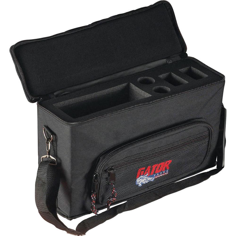 Gator GM-2W Bag for 2 Wireless Microphone Systems Padded Mic Case w  storage