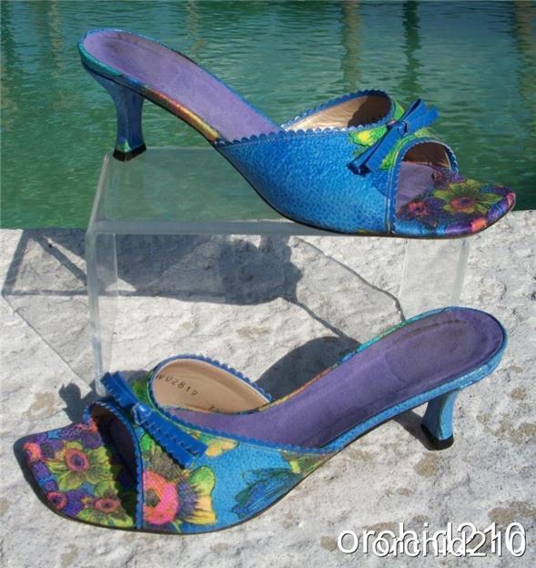 Stuart Weitzman CAPRI PEONY LINEN LEATHER chaussures Sandal EUC 7.5  Slide  275