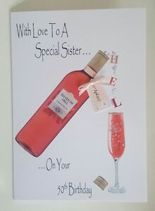 Image Is Loading Personalised 50th Birthday Card Sister Friend Wife Wine