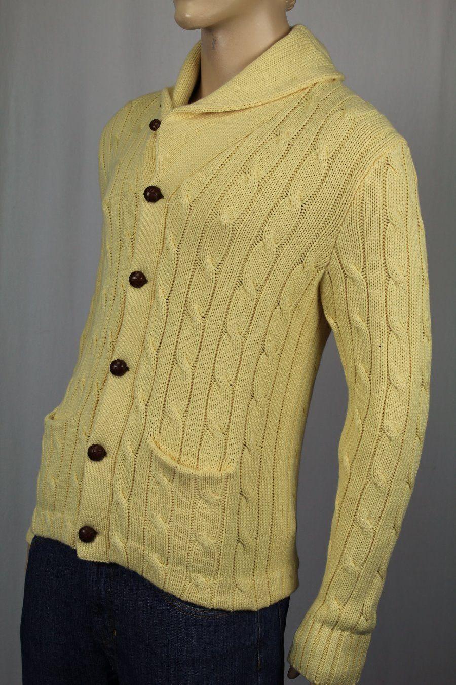 Polo Ralph Lauren Gelb Shawl Cardigan Leder Cashmere NWT 495