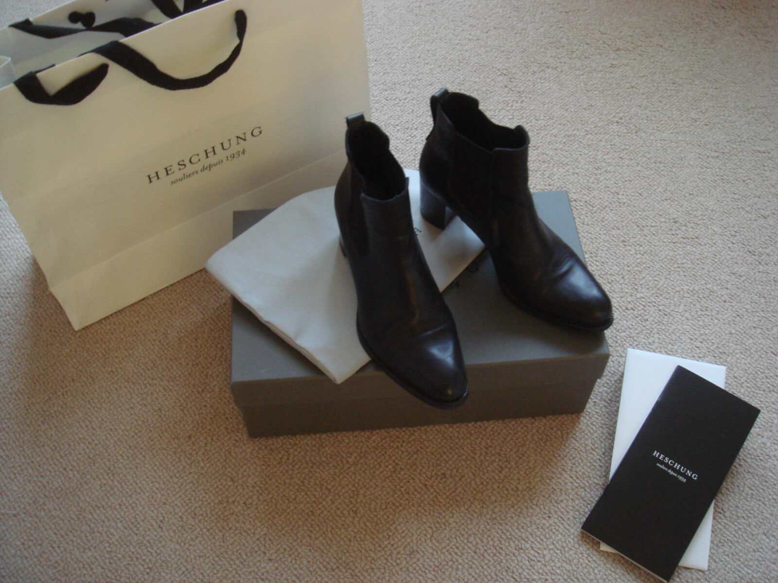 HESCHUNG Women's Ankle Boots in Black Leather size 6.5M Made in France